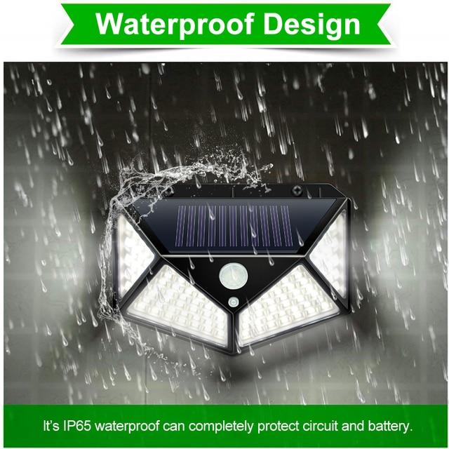 Goodland 100 LED Solar Light Outdoor Solar Lamp Powered Sunlight 3 Modes PIR Motion Sensor for Garden Decoration Wall Street 5