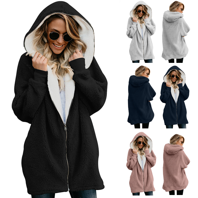 CHANWELL Winter Women Coat 2019 Plus Size Elegant Warm Loose Hoodies Long Coats Kpop Female Oversize Hoody Jackets Overcoat image