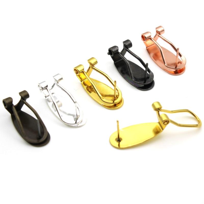 Серьги-гвоздики из латуни, золотистые/серебристые, 10 шт., 9 х20 мм