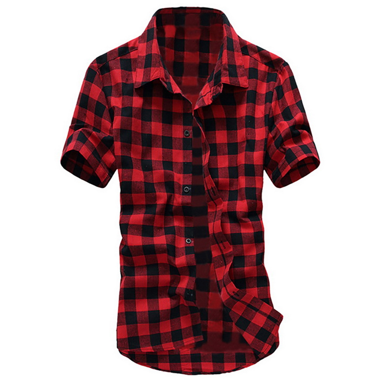 Litthing Summer Turn-down Collar Short Sleeve Men Shirt Casual Plaid Printed Shirt Male Cotton Basic Shirt Camisa Hombre Tops