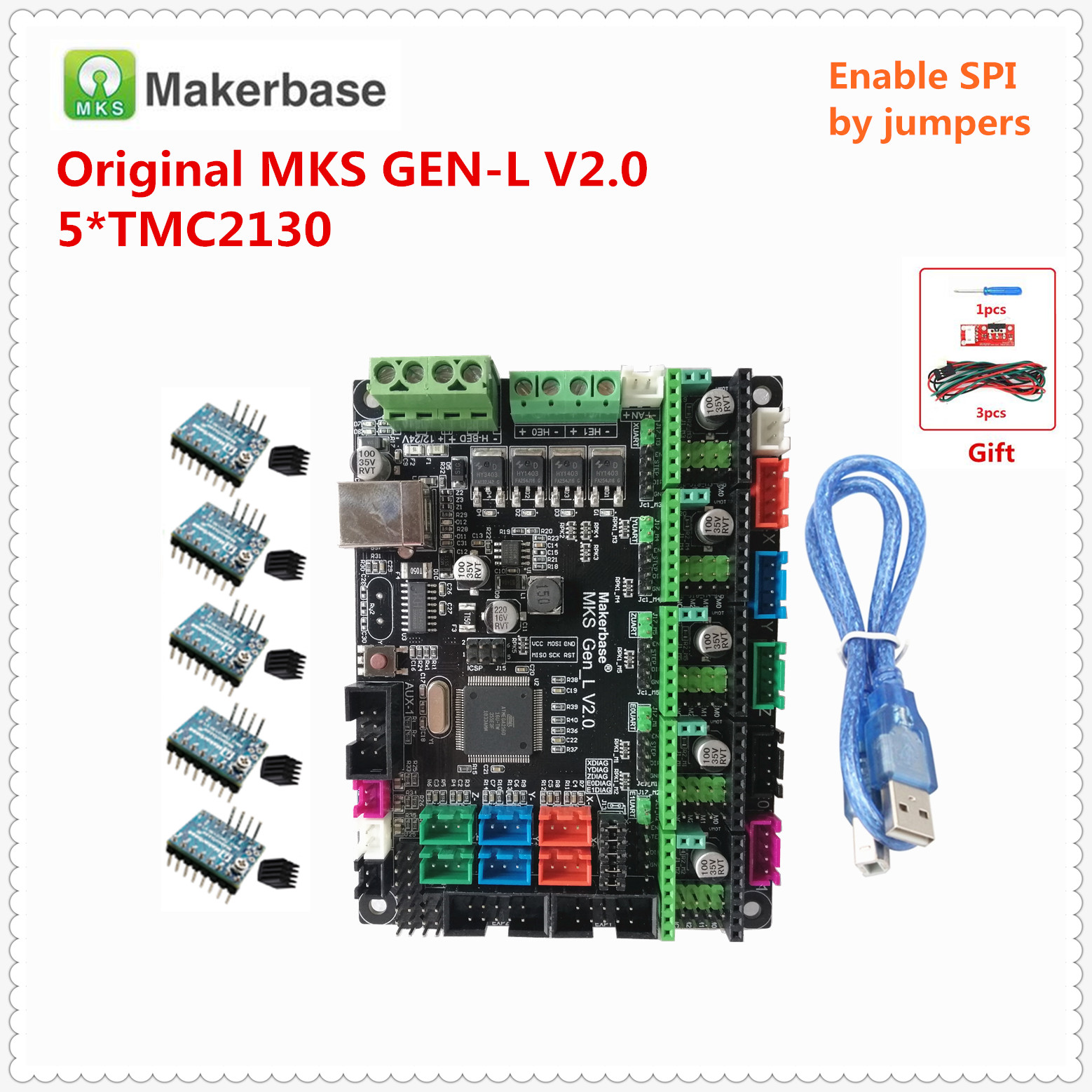 Makerbase Original MKS GEN L V2.0 3D Printer Spare Card Control Mainboard Support A4988 DRV8825 Tmc2130 Tmc2208 Lv8729 Tmc2130