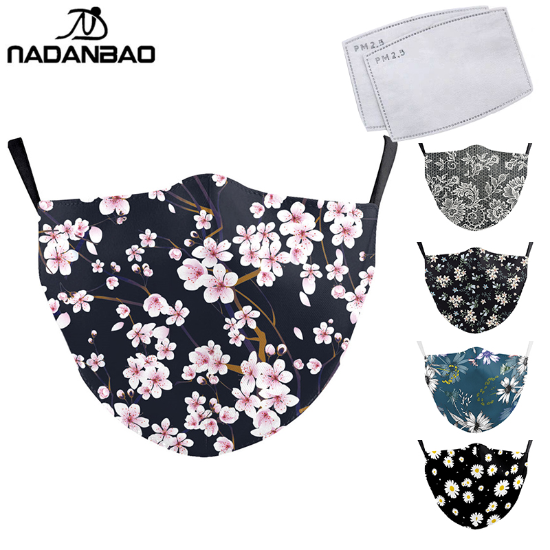 NADANBAO Flower Face Mask Aztec Printed Masks Fabric Adult Protective PM 2.5 Dust Mouth Cover Washable Reusable Mouth Mask