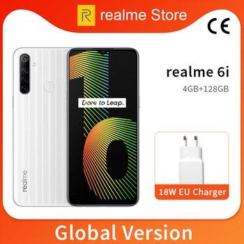 Перейти на Алиэкспресс и купить Глобальная версия realme 6i 4 Гб 128 6,5 ''мини-капля полноэкранный Helio G80 Octa Core 48MP AI Quad Камера 5000 мА/ч, Батарея