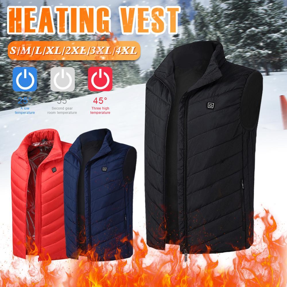 Теплый теплый жилет для мужчин с USB электрическим безрукавным подогревом, зимняя теплая куртка для активного отдыха