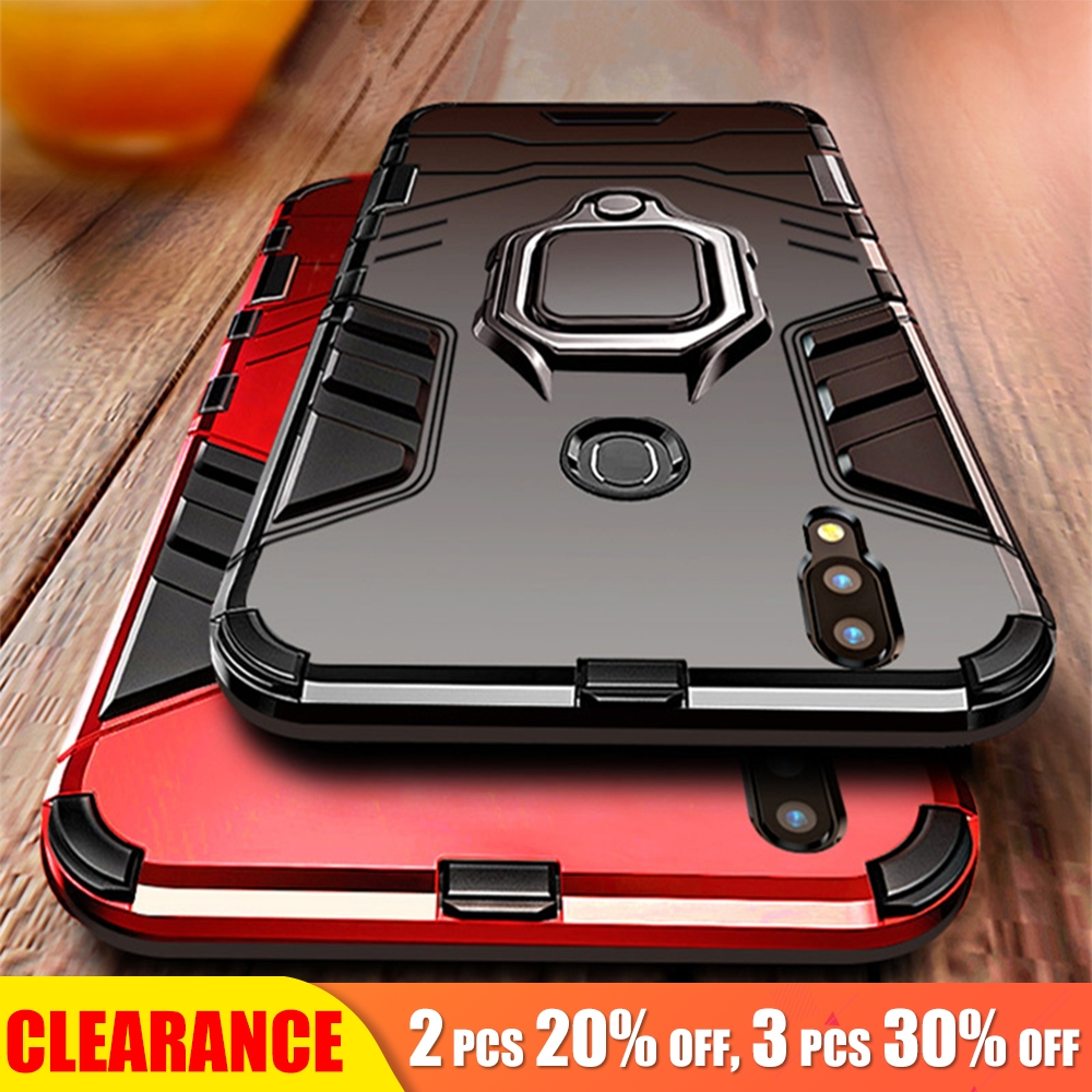 [Clearance] For Huawei P20 Pro Case Luxury Armor Honor 8X Max Back Cover Shockproof Ring Holder