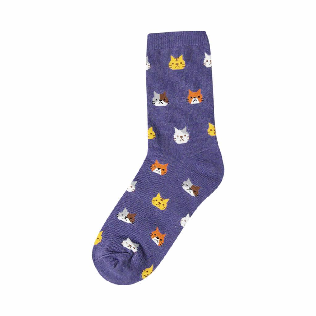 Moda bayan güzel sevimli kedi örme komik çoraplar kadın hayvan karikatür pamuk tüp çorap bayan sıcak yün kaşmir kar çorapları