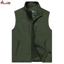 Men Multi-Pocket Classic Waistcoat Male Sleeveless Thin Spring Solid Coat Work Vest Photographer Tactical Summer Jacket M~6XL