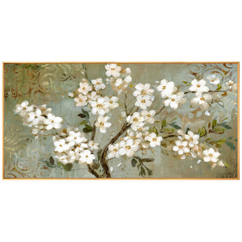 White Flowers hand-painted Oil Painting Decorative Horizontal Version Of The Living Room Sofa Bedroom Villa Restaurant Entrance