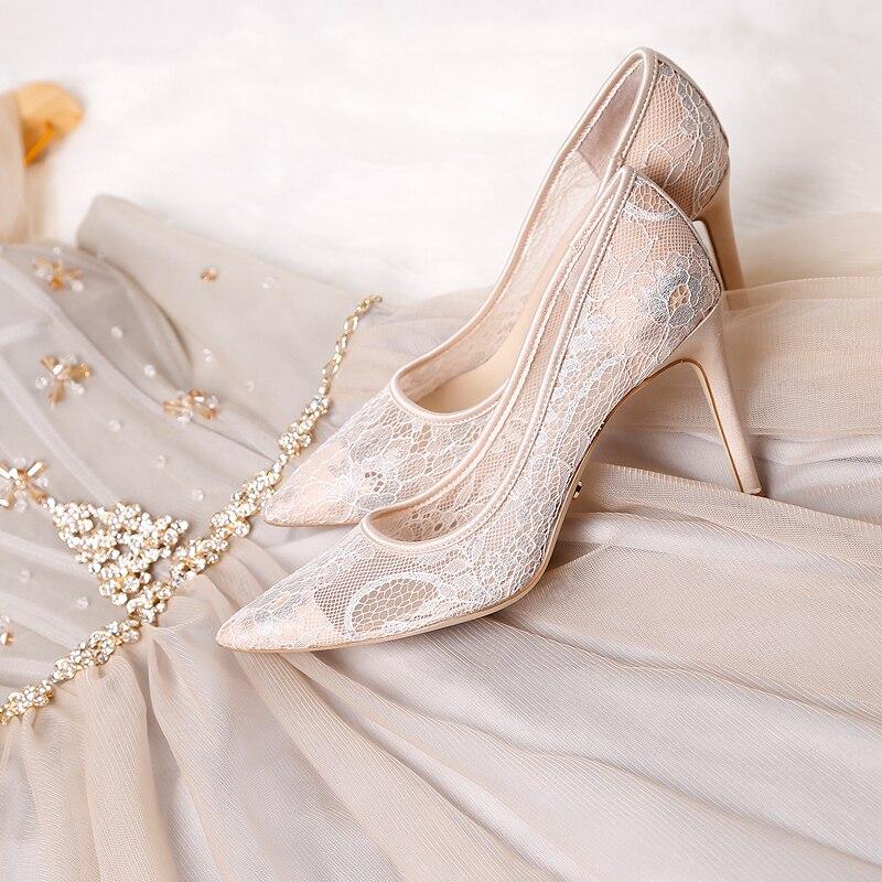 Celebrity Frankrijk Luxe Black Lace Mesh Vierkante Gem Bling Parels Hoge Hak Avondfeest Dames Bruidsmeisjes Sexy Jurk Schoenen - 5