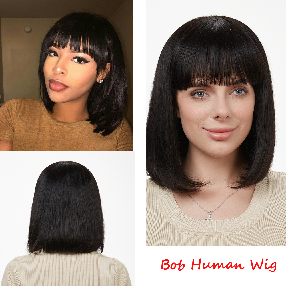 Wignee Short Straight Bob Human Hair Wigs With Free Bangs For Black Women 150% High Density Brazilian Hair Short Bob Human Wigs