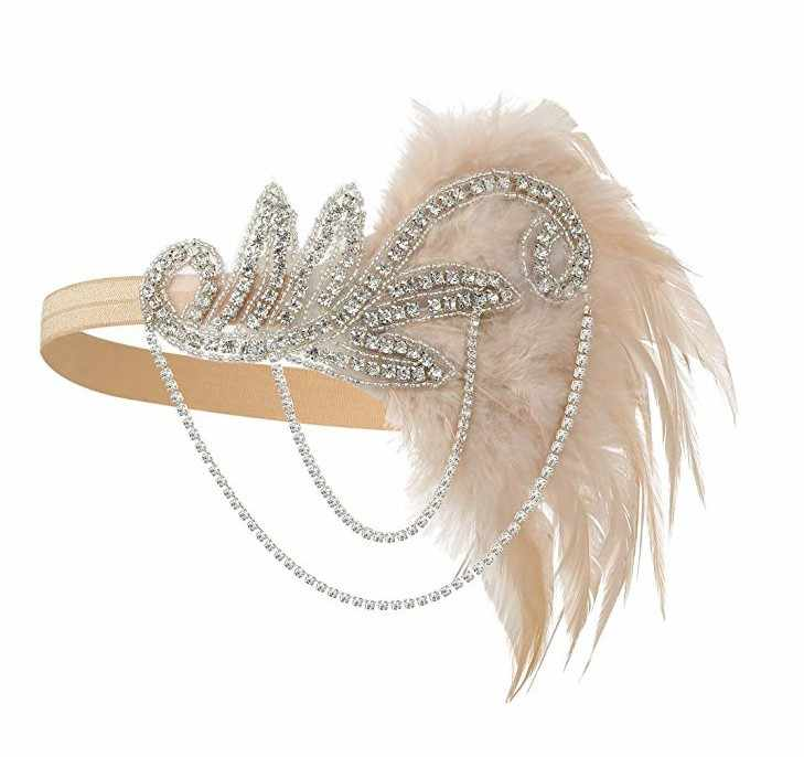 Pesta Fairmont S Flapper Headband Kristal Great Gatsby Headpiece Bulu Vintage 1920 S Kostum Aksesoris Rambut Grosir