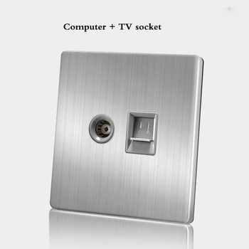 86 Type wall switch panel Five hole socket with switch Brushed Stainless steel 5-hole socket Household 1 2 3 4Gang 1 2Way switch 22