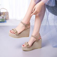 Oversized wedges shoes for women sandals women shoes woman ladies summer Fish bill wedges and sponge cake stand(China)