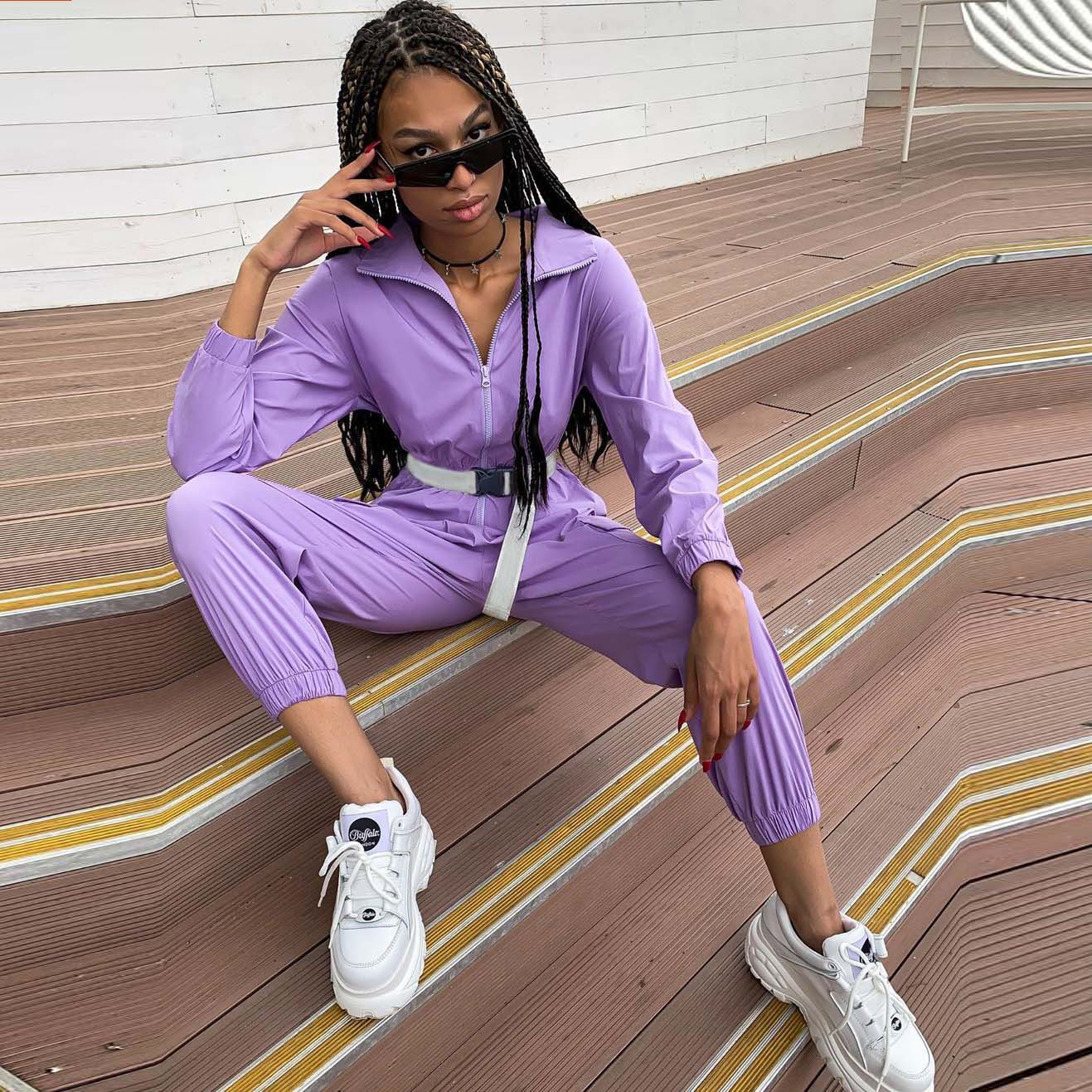 Jumpsuits Autumn Solid Turtleneck Full Sleeve Zipper One-piece Women Fitness Rompers With Belt Bodysuit Fashion Jogger Winter
