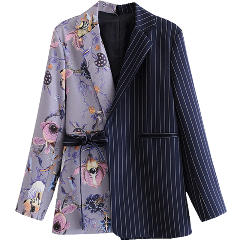 Retro Asymmetrical Printed Blazer Women Striped Loose Patchwork Lace-up Small Suit