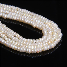 4.4mm Natural pure real freshwater pearls beads for women  jewelry making coin flat round white Cultured pearls beads bracelets