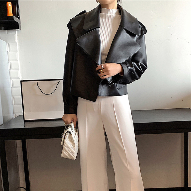 Women Pu Leather Jacket Soft Vintage Biker Coat Short Pockets Motocycle Winter Coat