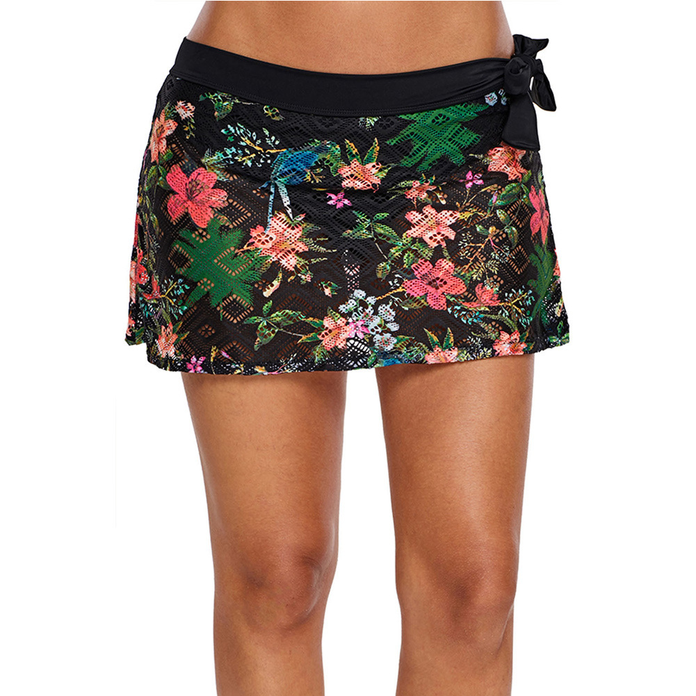 Europe And America Printed Black Lace Triangle Divided Skirt Casual Beach Swimming One-Piece Swimming Pants Pants