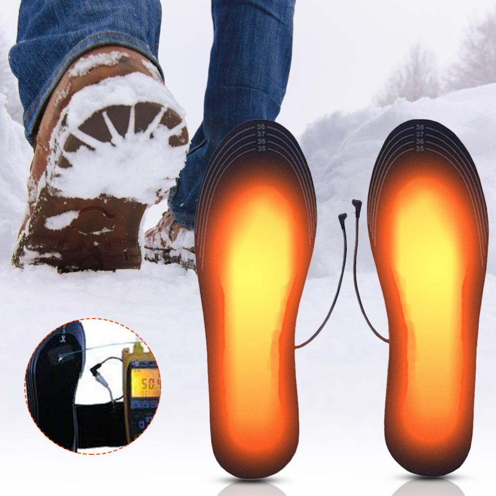 1 Pair USB Heated Shoe Comfortable Soft Electric Heated Shoe Insoles Winter Outdoor Sports Feet Warming Insoles Washable