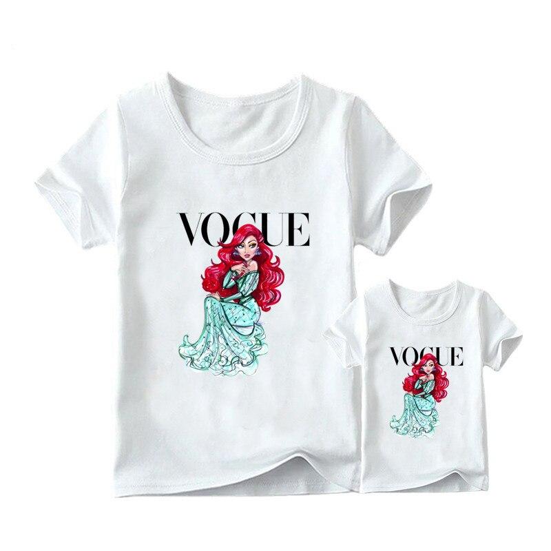 1 предмет, г. Летняя футболка с принтом принцессы в стиле панк модная одежда для мамы и дочки забавная семейная футболка с короткими рукавами - Цвет: 3
