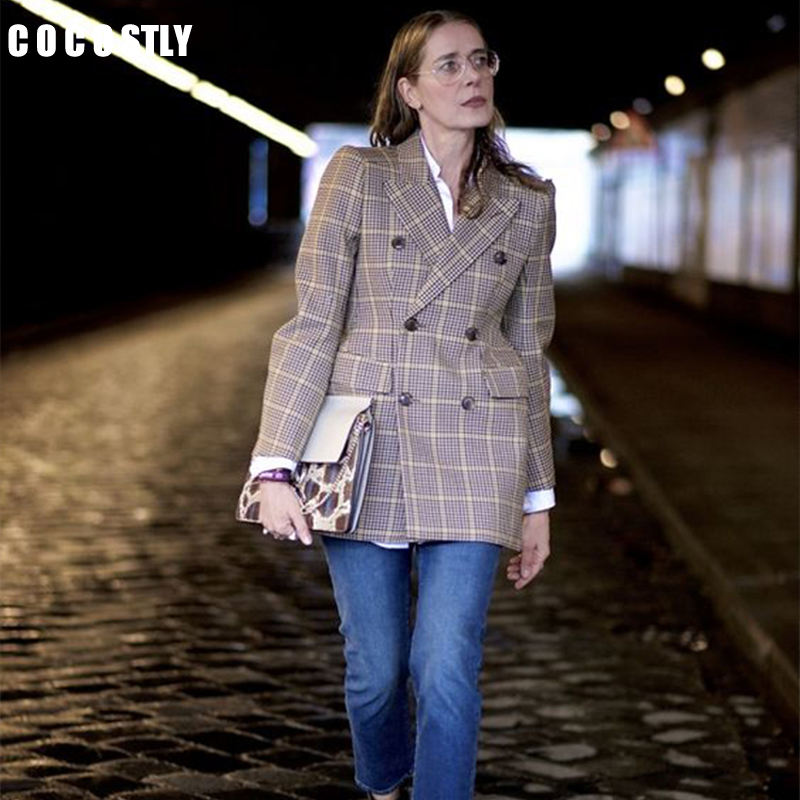 Casual Classic Office Lady Plaid Blazer Women Jackets And Blazers Double Breasted Notched Collar Pockets Loose Jackets Female