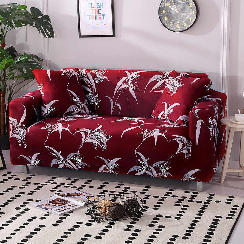 Stretchable Sofa Cover with Elastic for Sectional Couch Protects Sofa from Stains Damage and Dust 2
