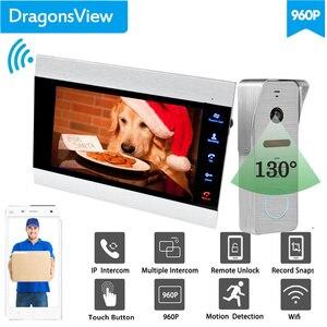 Image 2 - 【Wide Angle 960P】Dragonsview  7''  Wifi Video Intercom Doorbell with Camera IP Video Door Phone SD Card Mobile Unlock
