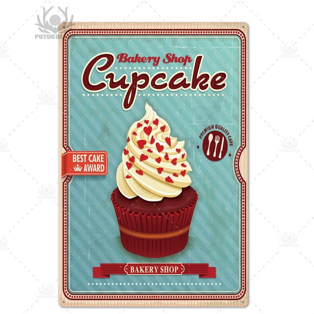Advertising Sign Patisserie Coffeehouse WALL PLAQUE with CUPCAKES 30x30 cm Metal Sign