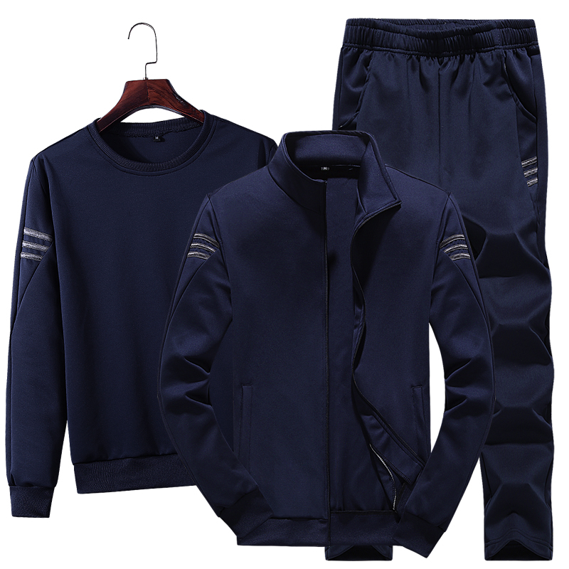 3pcs Set Men Fashion Autumn Sportwear Suit Casual Sweatshirt+Fleece Warm Jacket+Jogger Pants Sporting Suit Tracksuit Plus Size