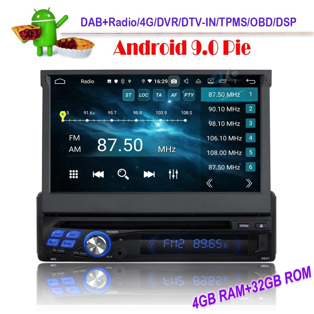 DSP pojedyncze Din Android 9.0 nawigacja GPS z bluetooth Stereo samochodu Wifi DAB radio samochodowe USB nadajnik FM 4G OBD DVR DVB-T