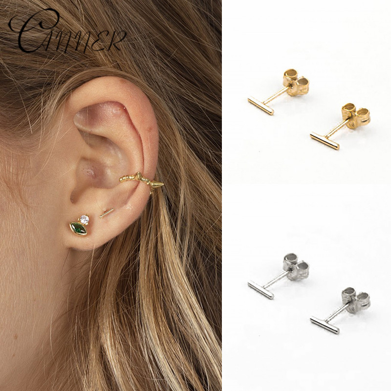 CANNER Trendy Geometric T Bar Stud Earring for Women Minimalist Fashion Jewelry 925 Sterling Silver Charm Stud Earrings Bijoux