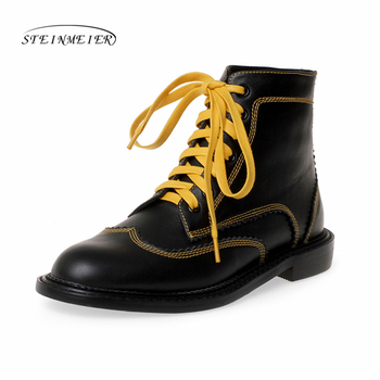 2020 Autumn Winter Quality Genuine Leather Punk Short Boots Lace Up Thick Heels Women Ankle Boots Party Shoes Woman Steinmeier