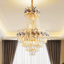 LED Modern K9 Crystal Chandeliers Lights Fixture European Chandelier Home Indoor Lighting Hotel Restaurant Hang Lamps