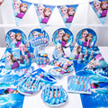 Наборы одноразовых столовых приборов с голубыми мультяшными рисунками для вечерние, салфетки, бумажные тарелки для детей, товары для дня ро...