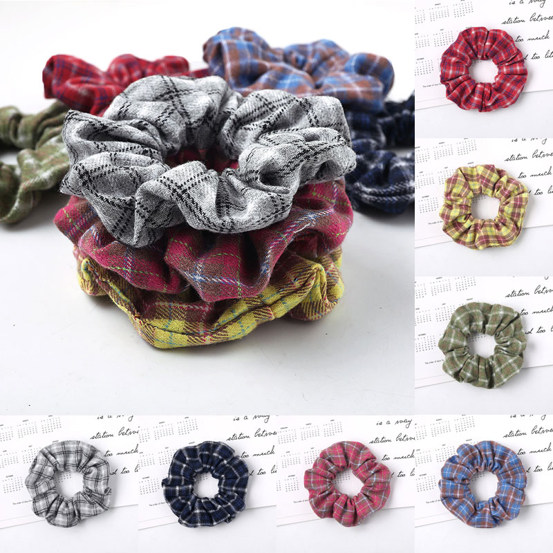 Women Fashion Plaid Scrunchie Girls High Quality Ponytail Holder Hair Scrunchies Elastic Cotton Cloth Hair Ring Hair Accessoires