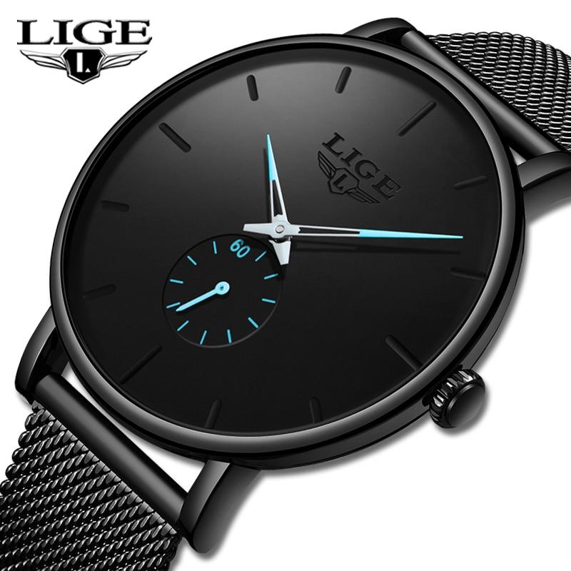 LIGE 2019 nowych moda sportowe męskie zegarki Top marka luksusowe wodoodporna proste Ultra cienki zegarek mężczyźni kwarcowy zegar Relogio masculino 1