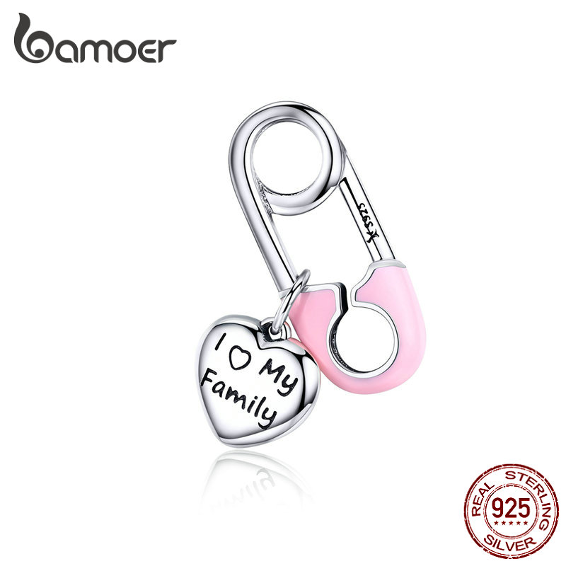 BAMOER Designer Sterling Silver 925 Pink Enamel Pink Family Heart Charms For Beads Bracelet And Necklace Pendants SCC1145