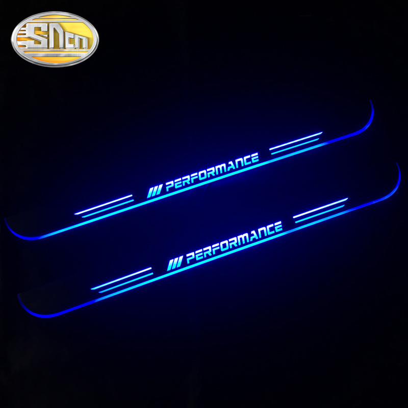 Image 2 - SNCN 4PCS Acrylic Moving LED Welcome Pedal Car Scuff Plate Pedal Door Sill Pathway Light For BMW X5 E70 F15 2007   2016 2017-in Car Stickers from Automobiles & Motorcycles