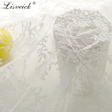 1yard Organza embroidered fabric White soft lace mesh tulle Fabric diy fashion dress clothing accessories