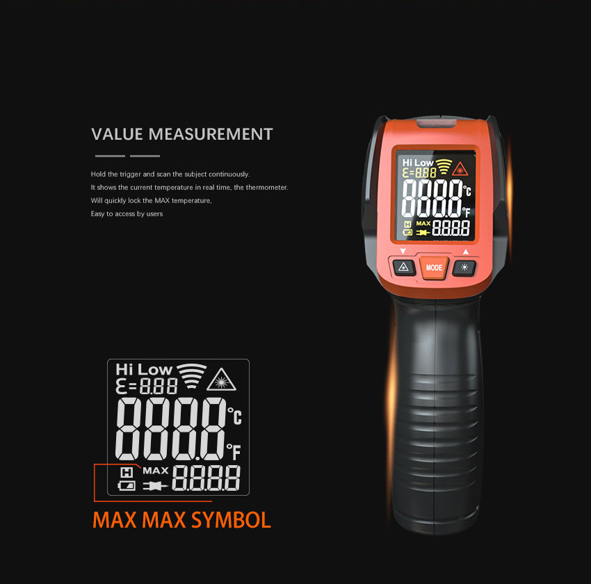 H22fcc4c5a2cb4a1cbbe9eb47d9482e65h LOMVUM Digital Infrared Thermometer Non Contact Temperature Gun Laser Handheld IR Temp Gun Colorful LCD Display 50-580C Alarm