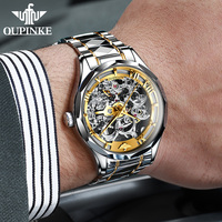 Oupinke top brand luxury men automatic mechanical watch skeleton tungsten steel waterproof self-wind sapphire glass wristwatch