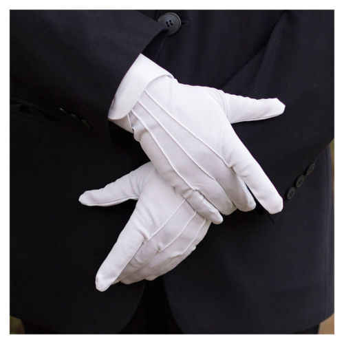 Local stock 1 Pair Men&/39;s New White Tuxedo Gloves Formal Uniform Guard Band Butler Gloves