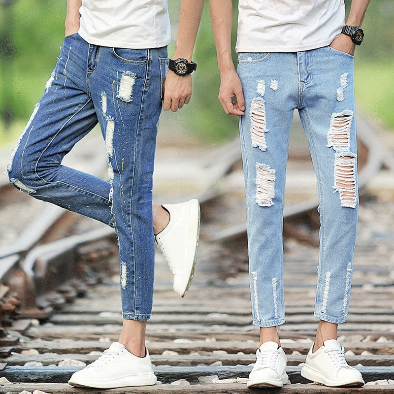 2017 Autumn MEN'S Jeans Elasticity Skinny Pants Slim Fit Capri Pants Students Teenager Casual Pants Men'S Wear