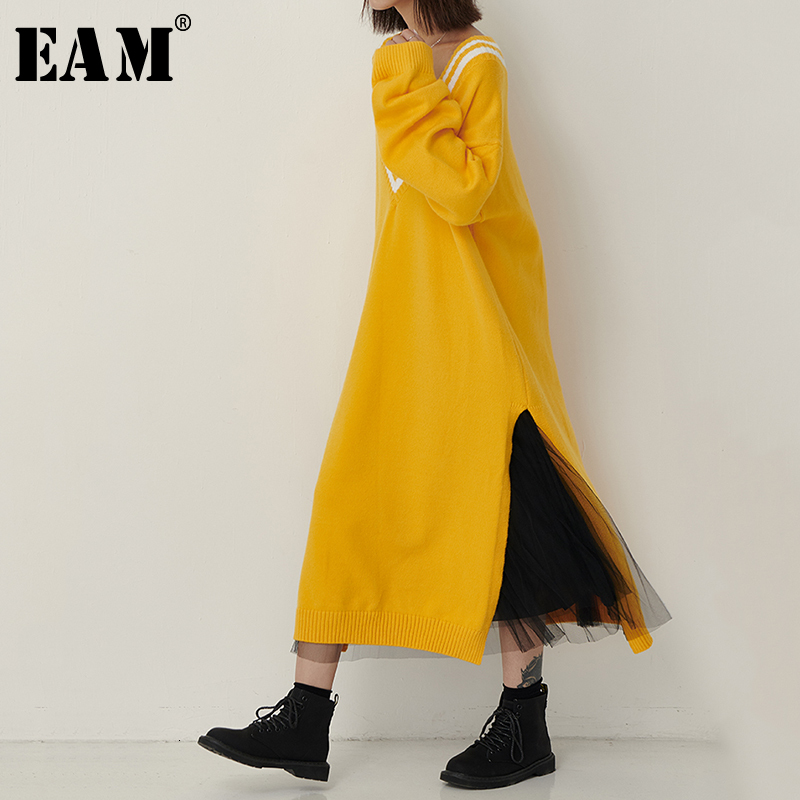 [EAM] Women Brief Side Split Hit Color Knitting Dress New V-Neck Long Sleeve Loose Fit Fashion Tide Spring Autumn 2019 1B609