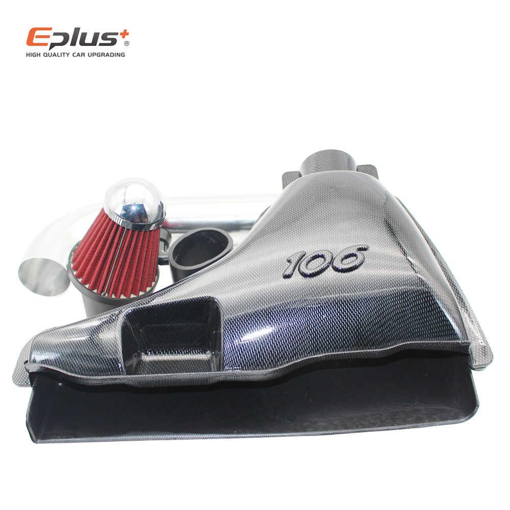 قطع غيار السيارات سيارة عالية تدفق مداخل تهوية أنظمة مدخل صندوق فلتر الهواء لبيجو 106 206 306 VTS كاذبة ألياف الكربون نمط