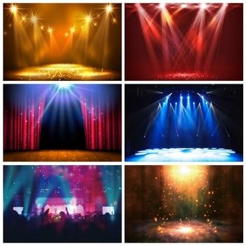 Laeacco Stage Background Brilliant Shiny Spotlight Polka Dots Light Bokeh Portrait Photographic Backdrop Photocall Photo Studio