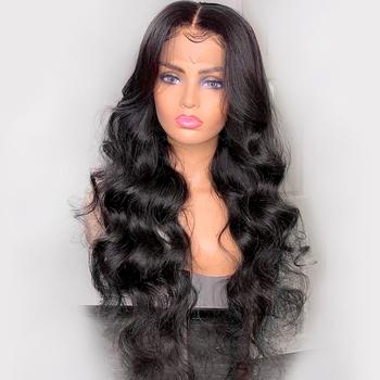 360 koronka Frontal włosów ludzkich peruk dla czarnych kobiet włosy typu body wave peruka 150 Remy brazylijski włosów prosto naturalne wstępnie oskubane z dzieckiem włosy tanie i dobre opinie Slove Rosa Remy włosy Ciało fala Brazylijski włosy Średnia wielkość Średni brąz Ciemniejszy kolor tylko Swiss koronki