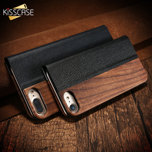 KISSCASE Real Wooden Flip Case For iPhone 7 Cover 11PRO 8 X XR PU Leather Cover For iPhone 11 Wood Case чехол книжка на айфон 11
