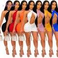 Твердый неон Цвет с лямкой на шее босоножки с перекрестными ремешками, с низким вырезом на спине вечерние клуб Мини платье для женщин 2021 лет...