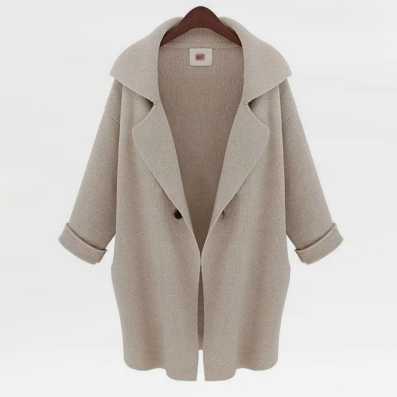 2019 autumn and winter women 39 s coat in long suit collar sweater casual loose shawl cardigan coat in Cardigans from Women 39 s Clothing